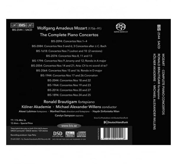 【停看聽音響唱片】【SACD】莫札特: 鋼琴協奏曲全集 / 羅納德.布勞提岡 古鋼琴 (12SACD)