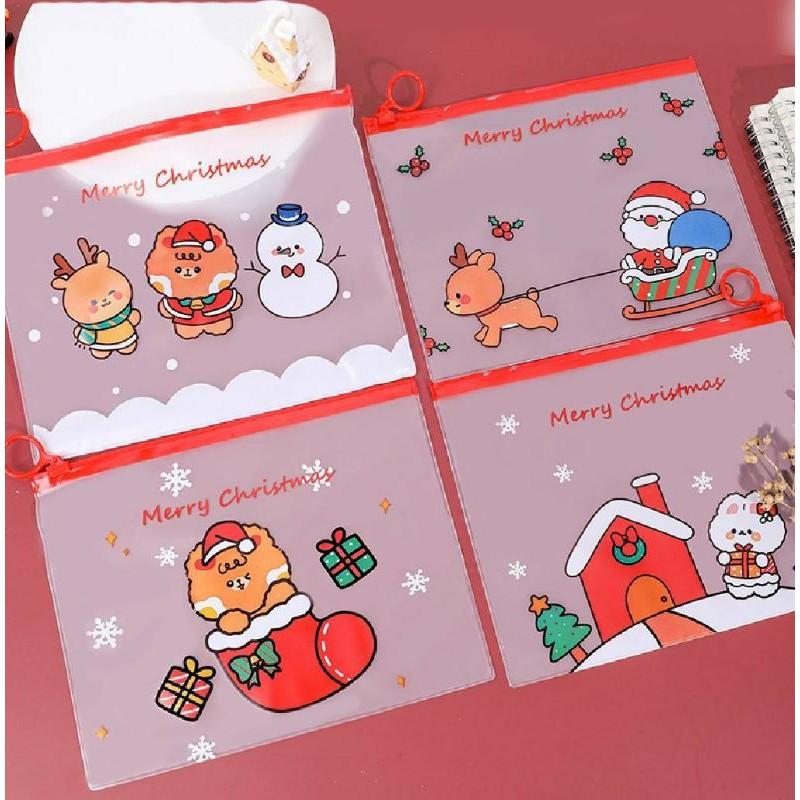 現貨/聖誕節.耶誕節.幼兒園禮物.文件袋.收納袋.萬用袋.透明聖誕節指環拉鏈文件袋