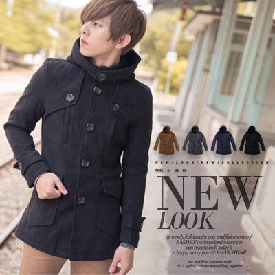 【N8872J】專櫃質感厚毛呢大圓扣中長版大衣外套(HO-DJ909)
