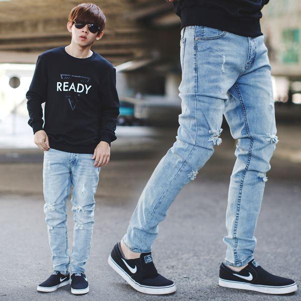 【NB0742J】淺藍刷色刷破抽鬚彈性合身牛仔褲(SH119-2733)
