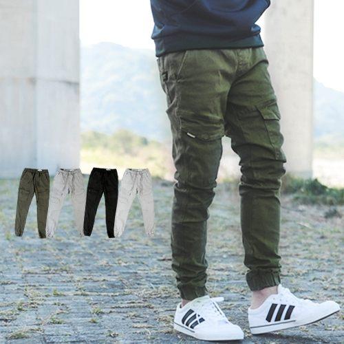 【NB0400J】韓國製高磅厚實多口袋素色 縮口褲(LE-HB063)