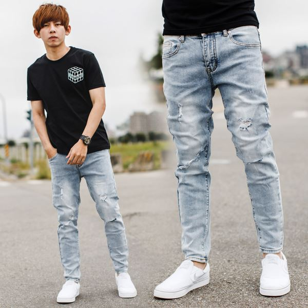 【NB0794J】淺藍刷色小刷破刀割合身版牛仔褲(SS-G1313)