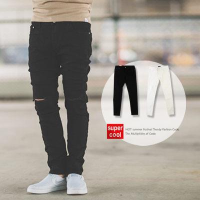 【N9980J】經典百搭膝蓋割破素面牛仔褲 (LE-KR8606)