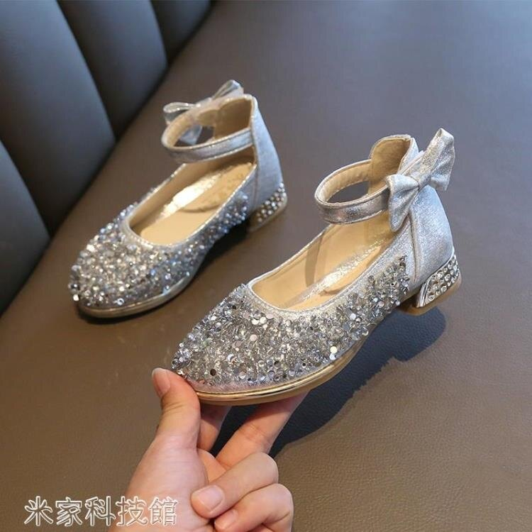 (買一送一)女童高跟鞋 女童皮鞋高跟學生女孩鋼琴表演水晶禮服模特走秀演出小公主兒童鞋 -(洛麗塔)