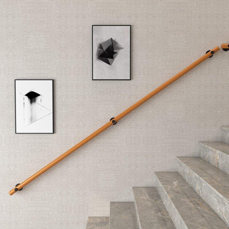 樓梯扶手 歐式靠墻實木樓梯扶手別墅閣樓室內老人防滑拉手家用幼稚園木扶手『CM41526』