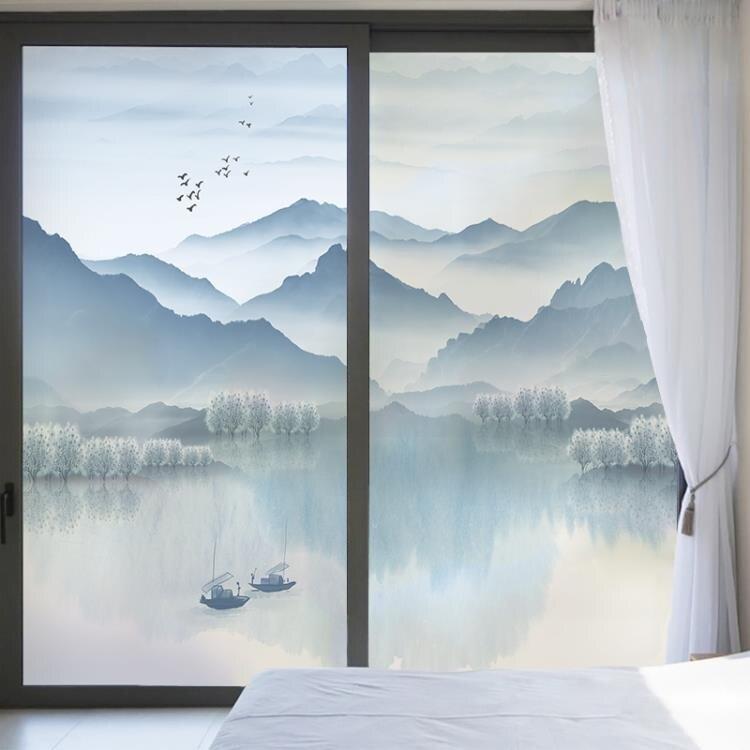 [新年快樂]中式山水靜電背膠臥室窗戶玻璃貼辦公室移門透光不透明玻璃貼膜