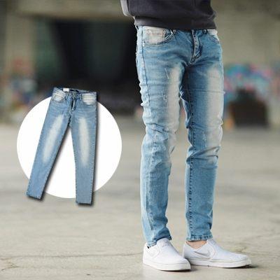 【NB0368J】韓國製淺藍刷白合身版牛仔褲(LE-PA171)