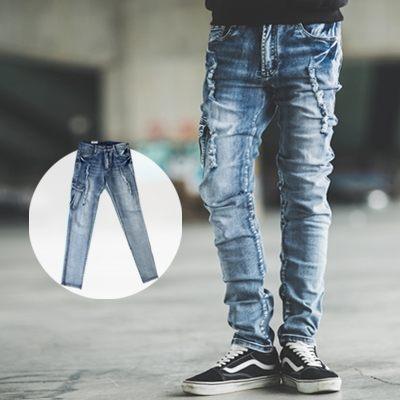 【NB0345J】破壞抽鬚側口袋小直筒牛仔褲 (UC2152)