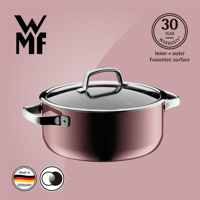 德國WMF Fusiontec 低身湯鍋 24cm 4.4L(金屬玫瑰 赭紅色)