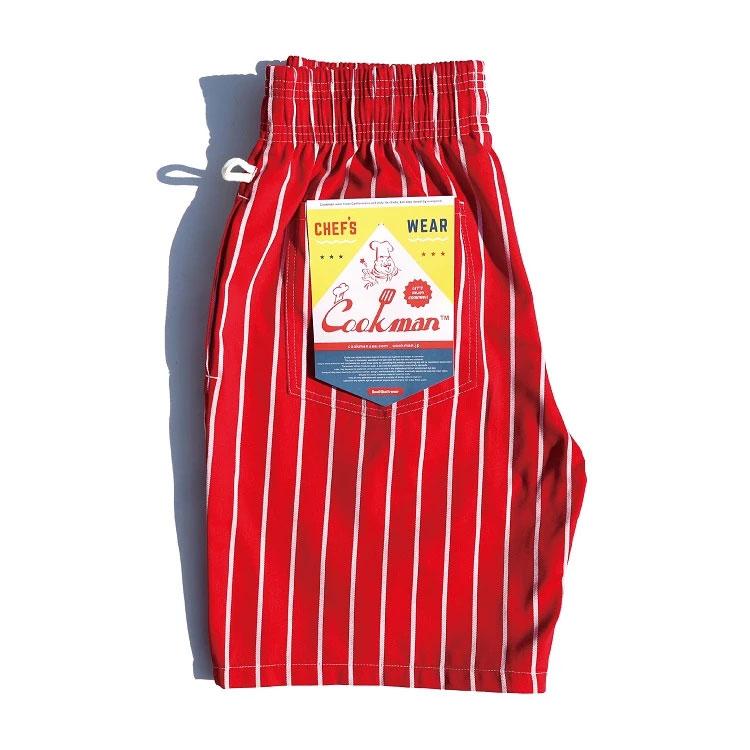 Cookman USA - 231-01808 Chef Short Pants 廚師短褲 / 休閒短褲 (紅白直條)
