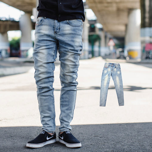 【NB0649J】韓國製漸層微刷色素面無破合身牛仔褲 (LE-PA713)