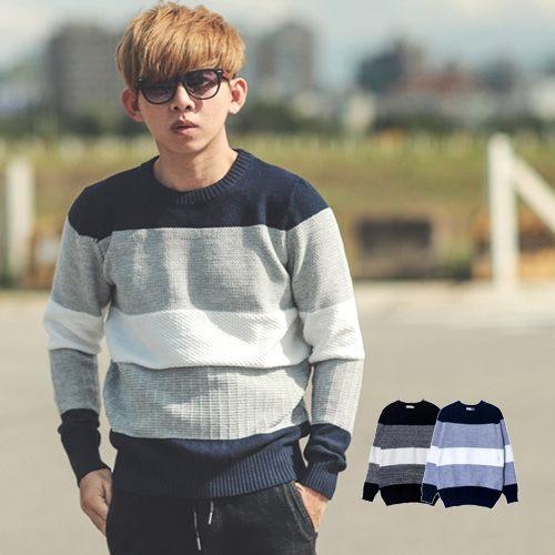 【NB0429J】韓國製立體織紋三色拼接針織毛衣(LE-RT022)