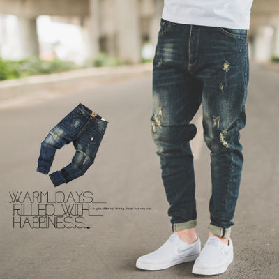 【N9865J】深藍刷色小抓破低褲檔牛仔褲 (SS5832)