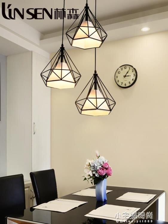 北歐現代簡約餐廳吊燈創意三頭loft燈具藝術鑚石鐵藝吧台個性燈飾