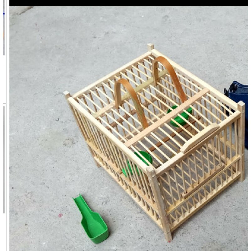 鳥籠 黃豆黃騰繡眼麻料相思麻雀畫眉鳥小方形籠子洗澡全套竹制精品【MJ6203】