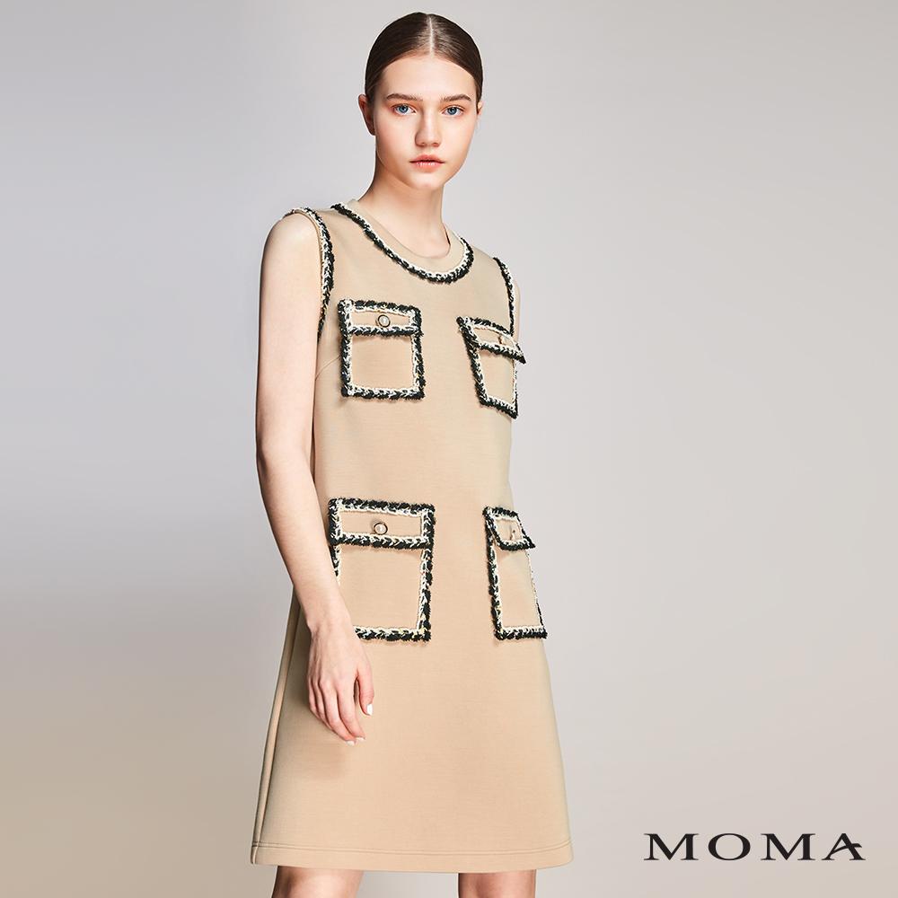 MOMA(01D048)織帶滾邊空氣棉洋裝