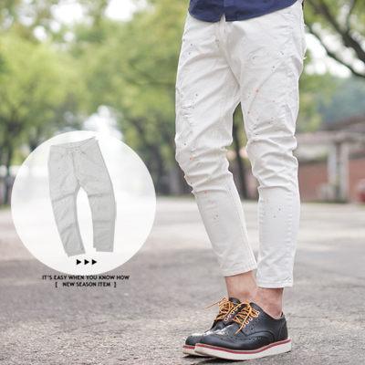 柒零年代【N9538J】油漆噴點小抓破白色九分褲牛仔褲(SS5390)