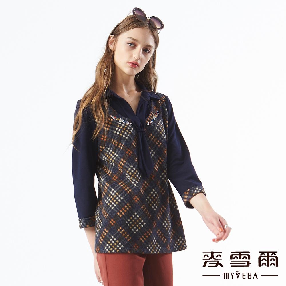 【麥雪爾】英倫格紋水鑽領帶假兩件上衣-黃