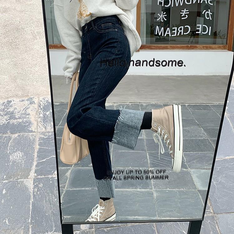 秋冬韓版直筒抓毛牛仔褲高腰顯瘦寬鬆百搭卷邊長褲