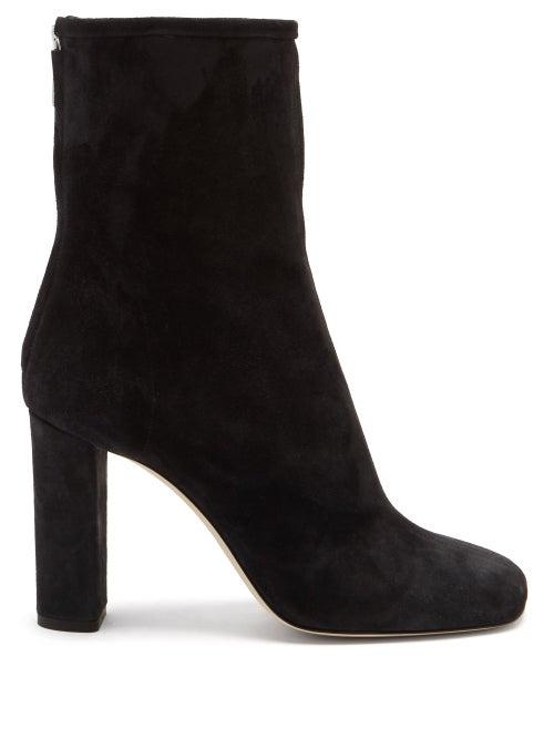 Paris Texas - Square-toe Suede Ankle Boots - Womens - Black