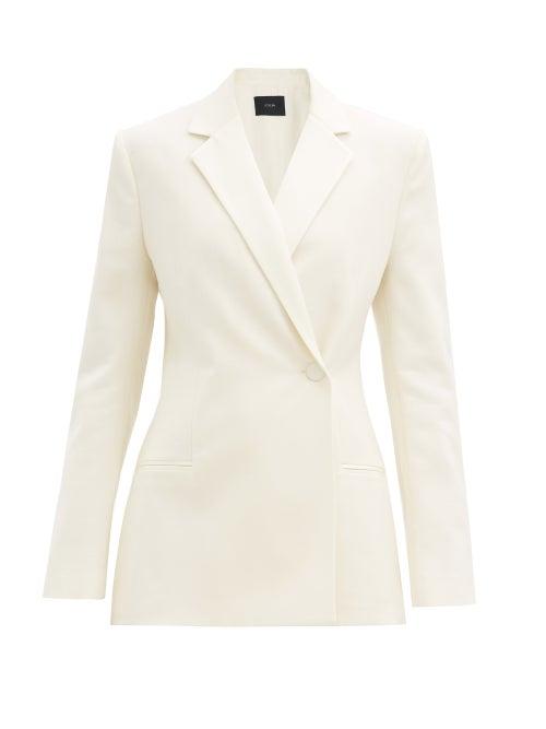 Joseph - Joplin Double-breasted Wool-blend Crepe Jacket - Womens - Ivory