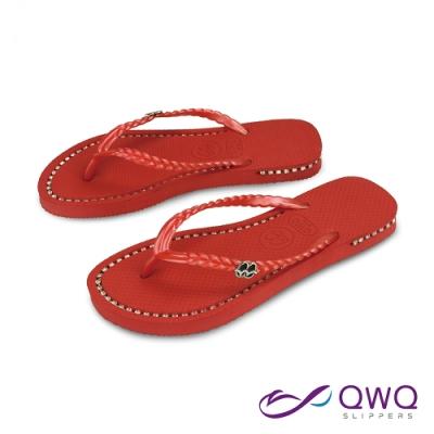 QWQ 氣質水鑽施華洛世奇元素涼拖鞋-吸睛夾腳人字拖鞋-搖滾紅(AEBZ00101)