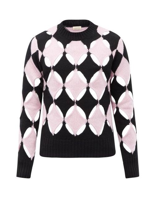 Stefan Cooke - Slashed Cutout-wool Sweater - Mens - Black Pink