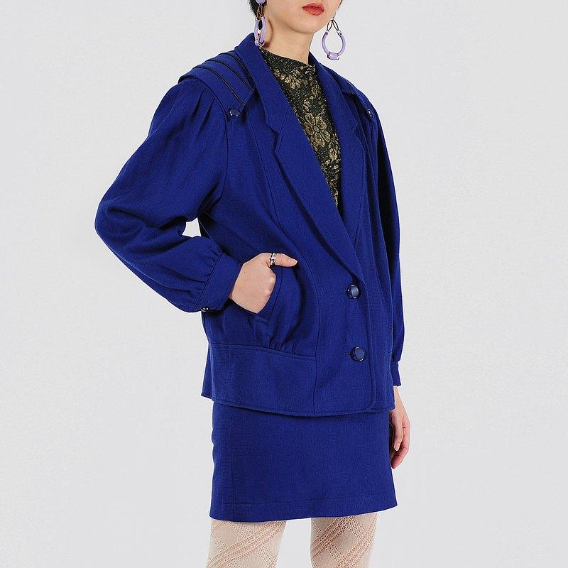 【蛋植物古著】靛青閃光毛料裙式古著套裝