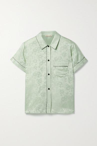 Morgan Lane - Tami 环孔缝边提花缎布睡衣衬衫 - 薄荷色 - medium