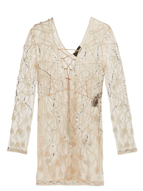 Dundas - Laced-front Sequinned And Beaded Mini Dress - Womens - Nude