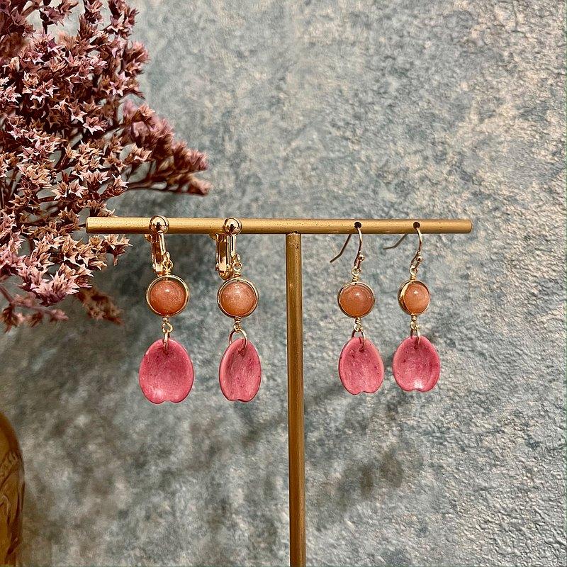 ll 太陽石與薔薇石花瓣耳環 ll 14K包金耳環 --- 天然石垂墜耳環