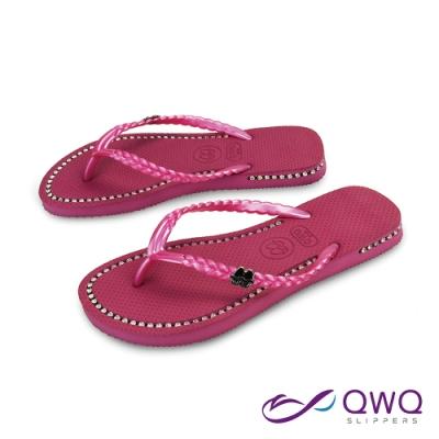 QWQ 氣質水鑽施華洛世奇元素涼拖鞋-吸睛夾腳人字拖鞋-俏麗粉(AEBZ00202)