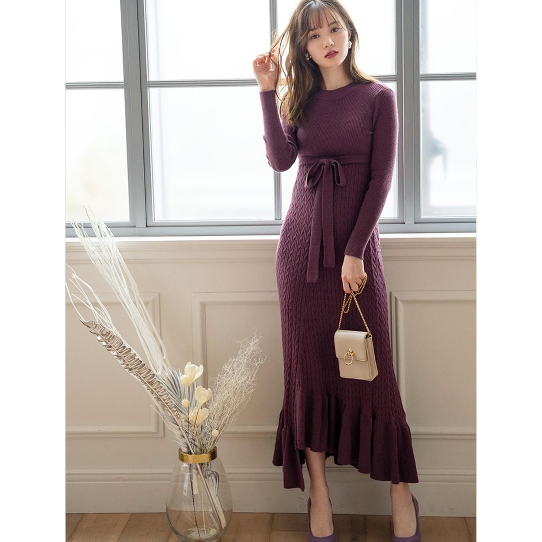 日本 GRL - 不規則荷葉襬針織長袖洋裝-藕灰粉