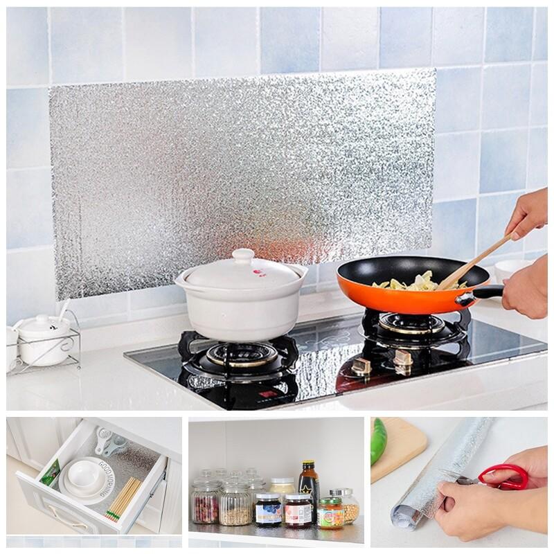 居家廚房耐熱防水防汙防油加厚牆壁貼紙(鋁箔款)(1組2入)m1660alex shop