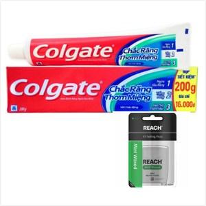 Colgate 三效合一牙膏(200g*12)+REACH薄荷牙線*3