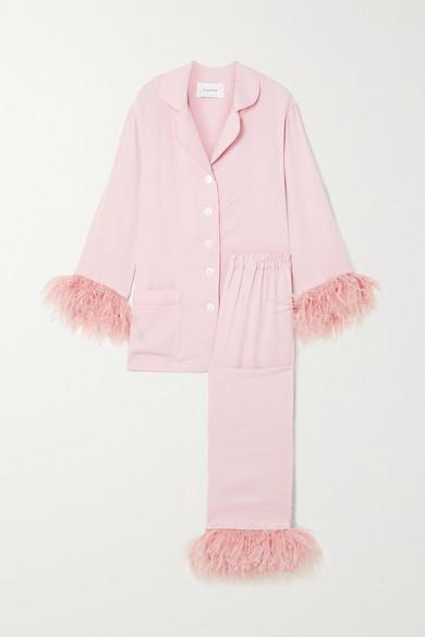 Sleeper - Party 羽毛边饰双绉睡衣套装 - 粉红色 - large