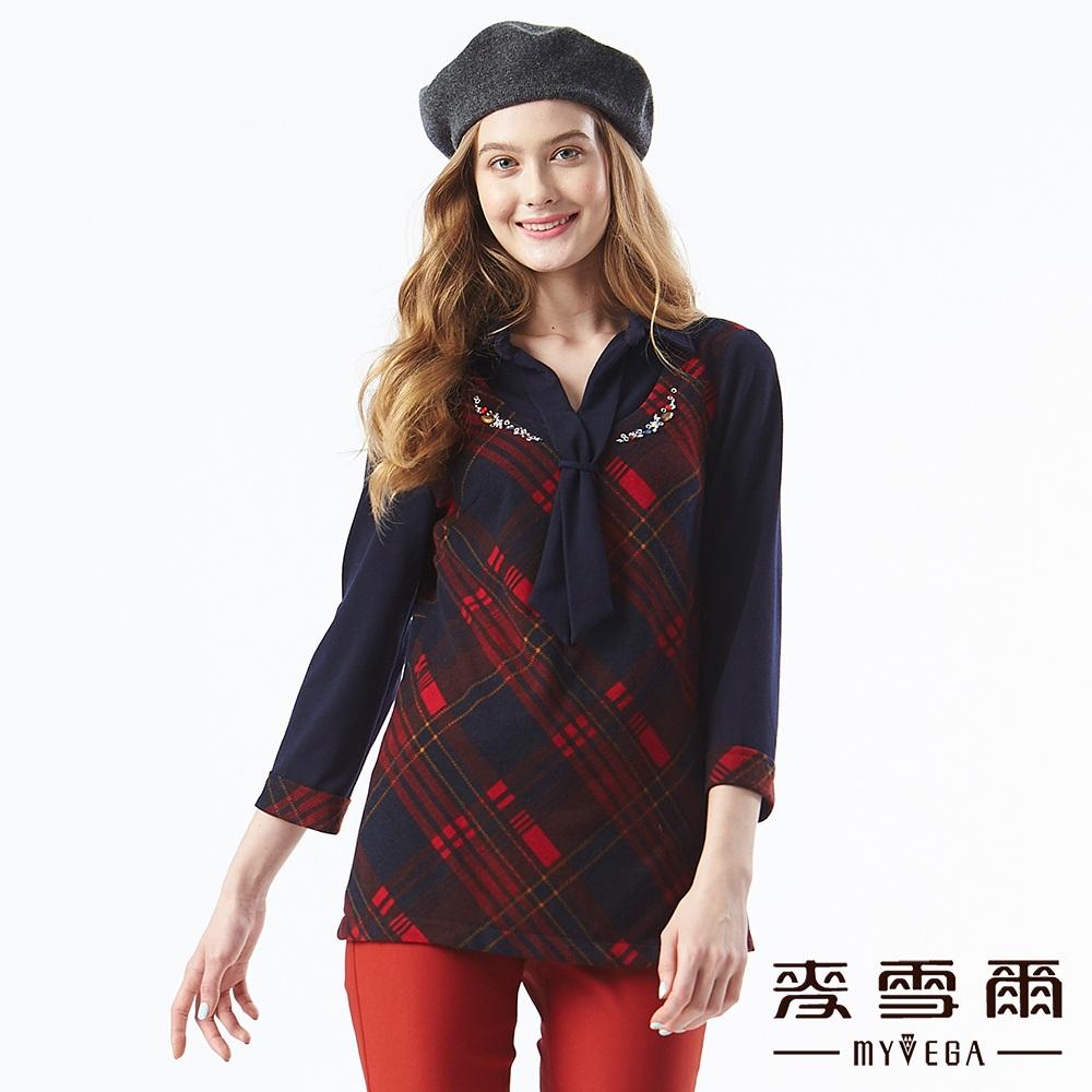 【麥雪爾】英倫格紋水鑽領帶假兩件上衣-紅