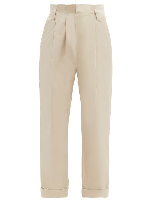 Brunello Cucinelli - High-rise Double-pleat Cotton-blend Trousers - Womens - Beige