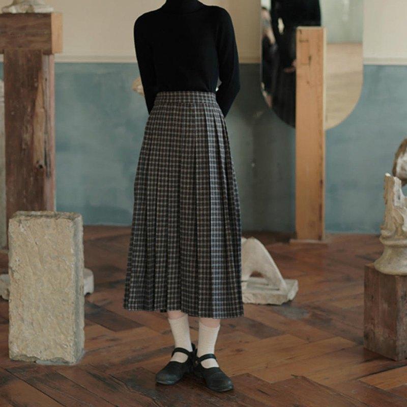 棕藍格紋 百搭復古格紋百褶半身裙 秋冬高腰學院風過膝長款裙子