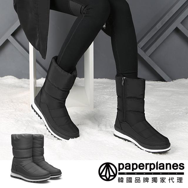 【Paperplanes】韓國空運/版型偏小。女款極地防潑水側拉鍊厚鋪毛中筒太空雪靴(7-512黑/現+預)