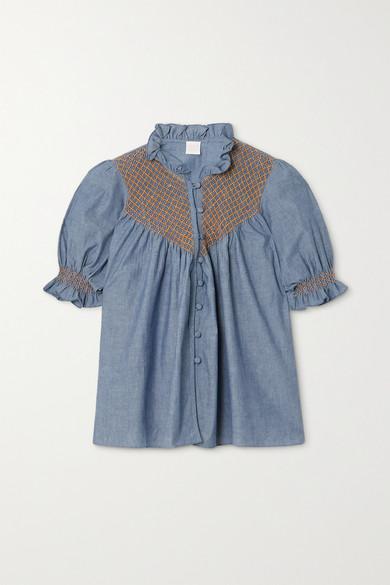 Loretta Caponi - Milvia 荷叶边皱褶装饰纯棉钱布雷布女衫 - 蓝色 - x small