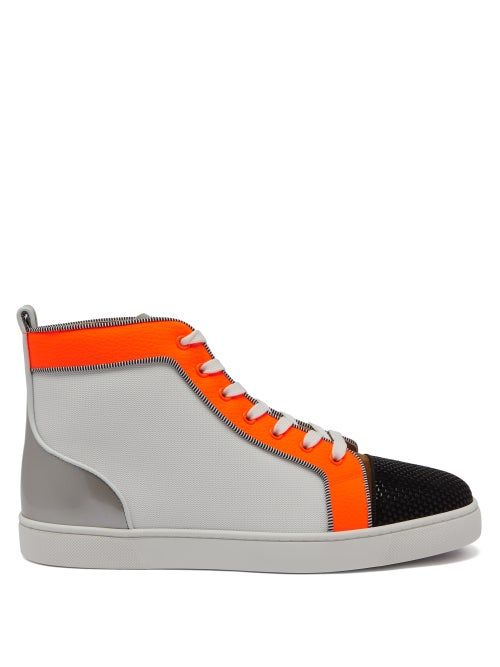 Christian Louboutin - Louis Orlato Leather High-top Trainers - Mens - Orange Multi