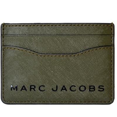 MARC JACOBS 時尚簡約黑色LOGO防刮皮革名片夾/卡夾-軍綠色