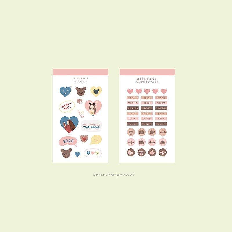 可愛的插圖PVC透明貼紙可愛的計劃者貼紙和裝飾貼紙