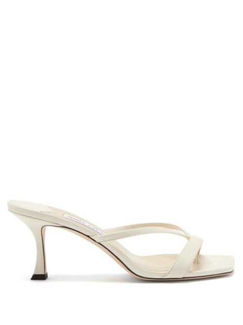 Jimmy Choo - Maelie 70 Leather Sandals - Womens - White