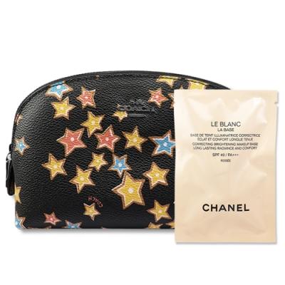 CHANEL香奈兒 珍珠光感新一代防護妝前乳#ROSÉE 2.5ml+COACH黑馬車logo化妝包 星星限定版