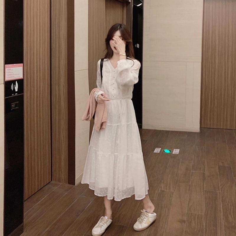 【papi】 裙子仙女超仙森系春裝2020年新款春季白色長袖連衣裙女5808