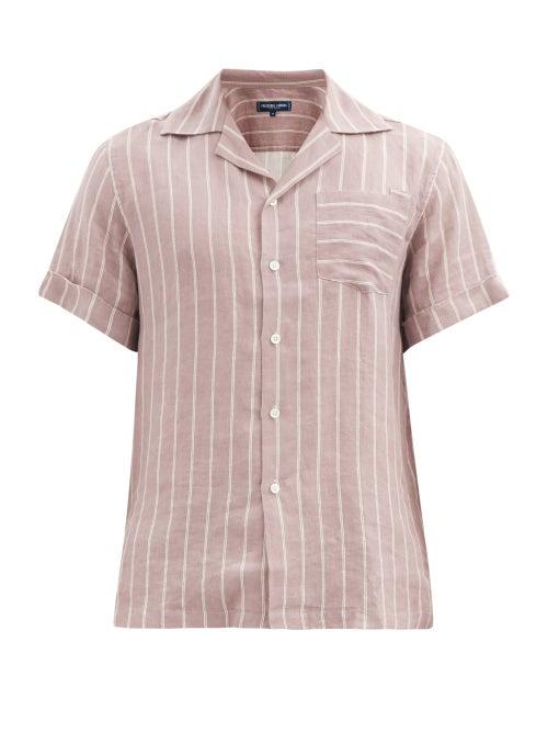 Frescobol Carioca - Thomas Short-sleeved Leblon-stripe Linen Shirt - Mens - Grey