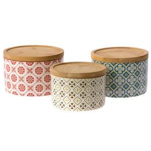 HOLA 百花富貴 點心缽 附竹材質上蓋 三入 陶瓷缽可適用微波爐及洗碗機