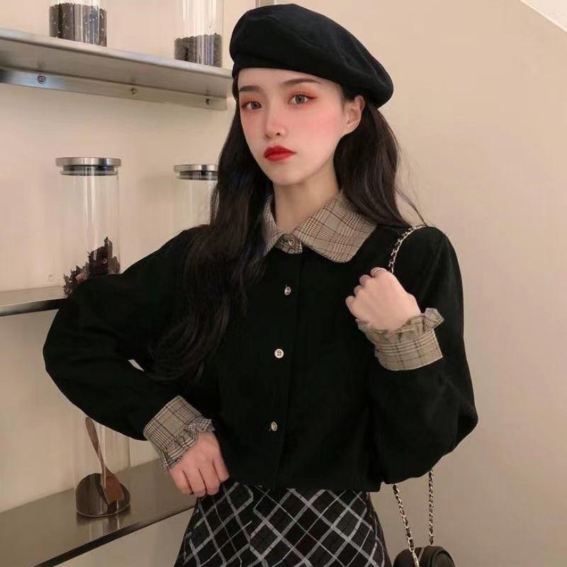 女生上衣 娃娃領上衣 百搭上衣 娃娃領襯衫 秋冬新款韓版設計感小眾襯衣百搭氣質長袖襯衫女黑色上衣潮